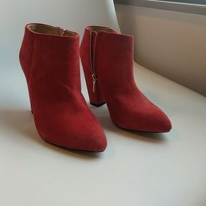 Red suede Zara ankle boot